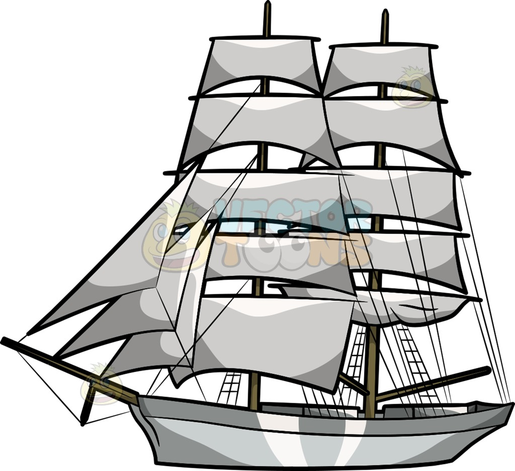 A majestic cartoon vector. Sail clipart tall ship clip black and white