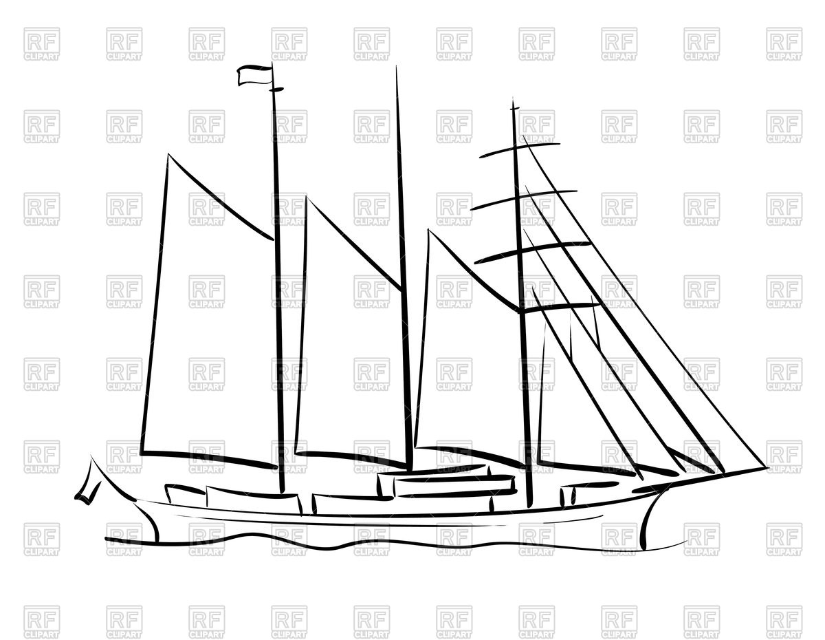 Outline of sailing vector. Sail clipart tall ship clipart library download