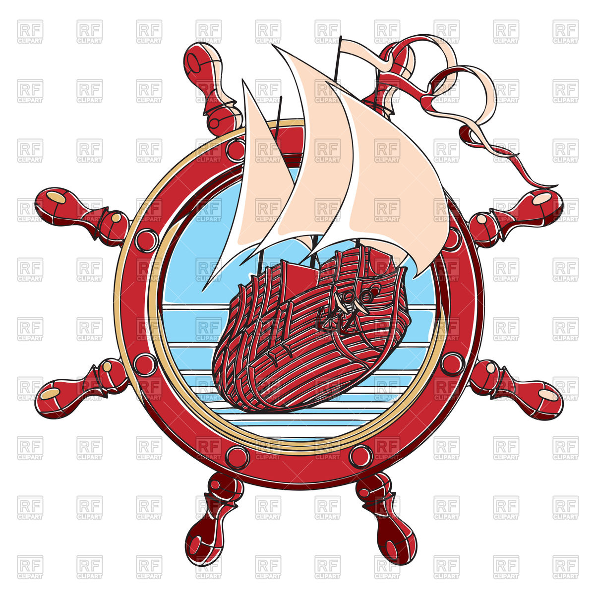 Badge with ship and. Sail clipart wheel clipart transparent