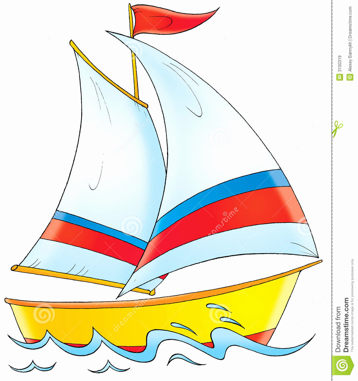 Sail clipart yatch. Cute yacht children illustration