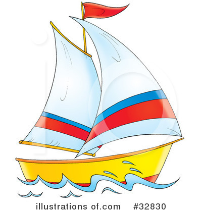 Sailboat clipart. Illustration by alex bannykh