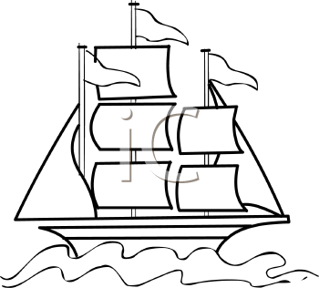 Sail clipart tall ship. Clip art outline of vector transparent stock