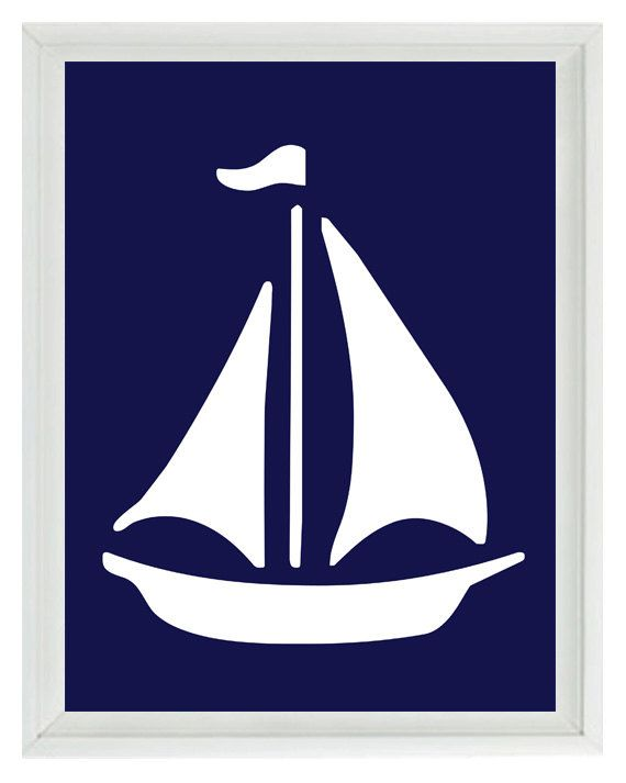 Sailboat clipart navy blue sailboat. Wall art print white