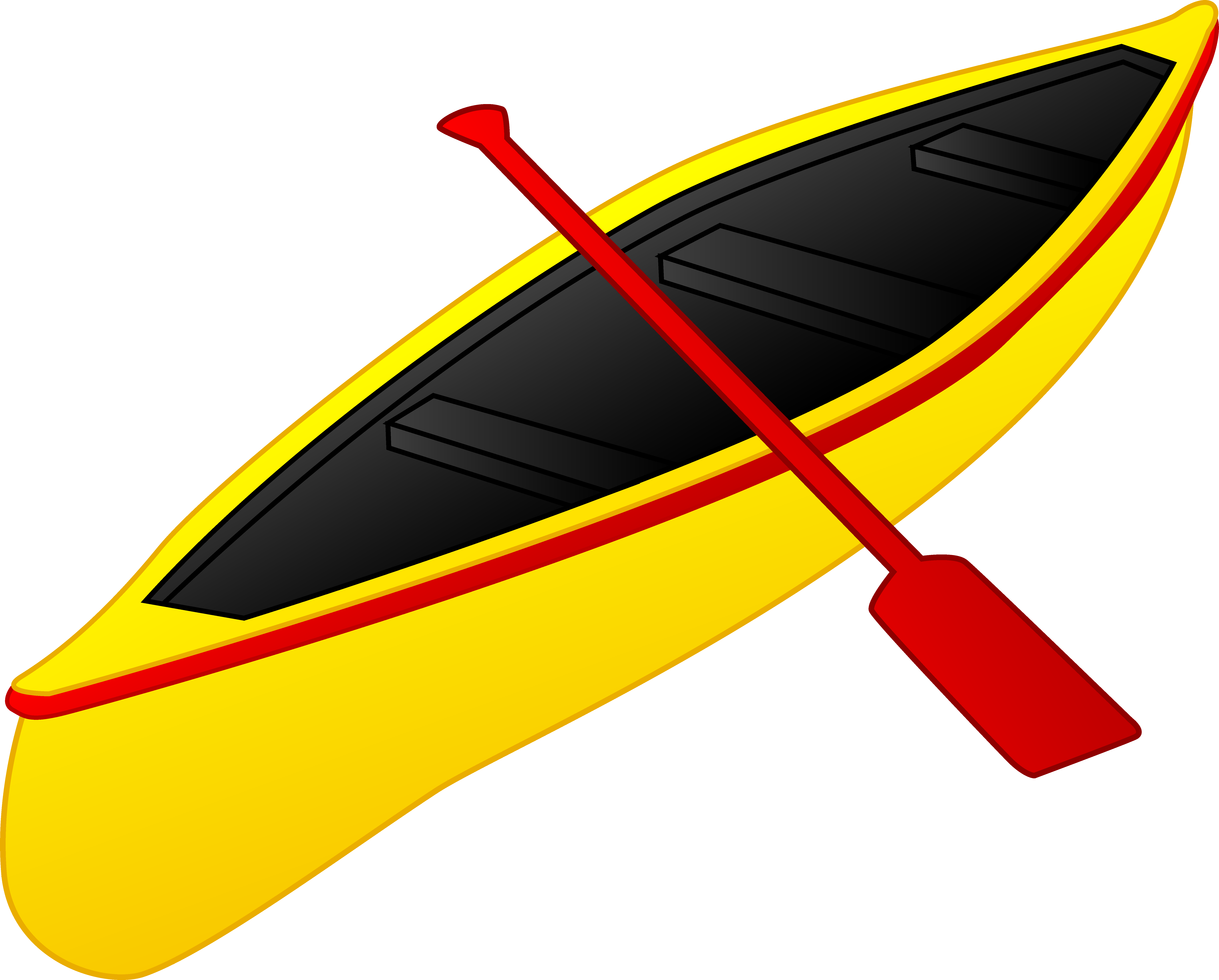 Yellow boat. With a red paddle