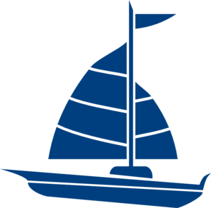 Medium sailboat. Blue clip art at
