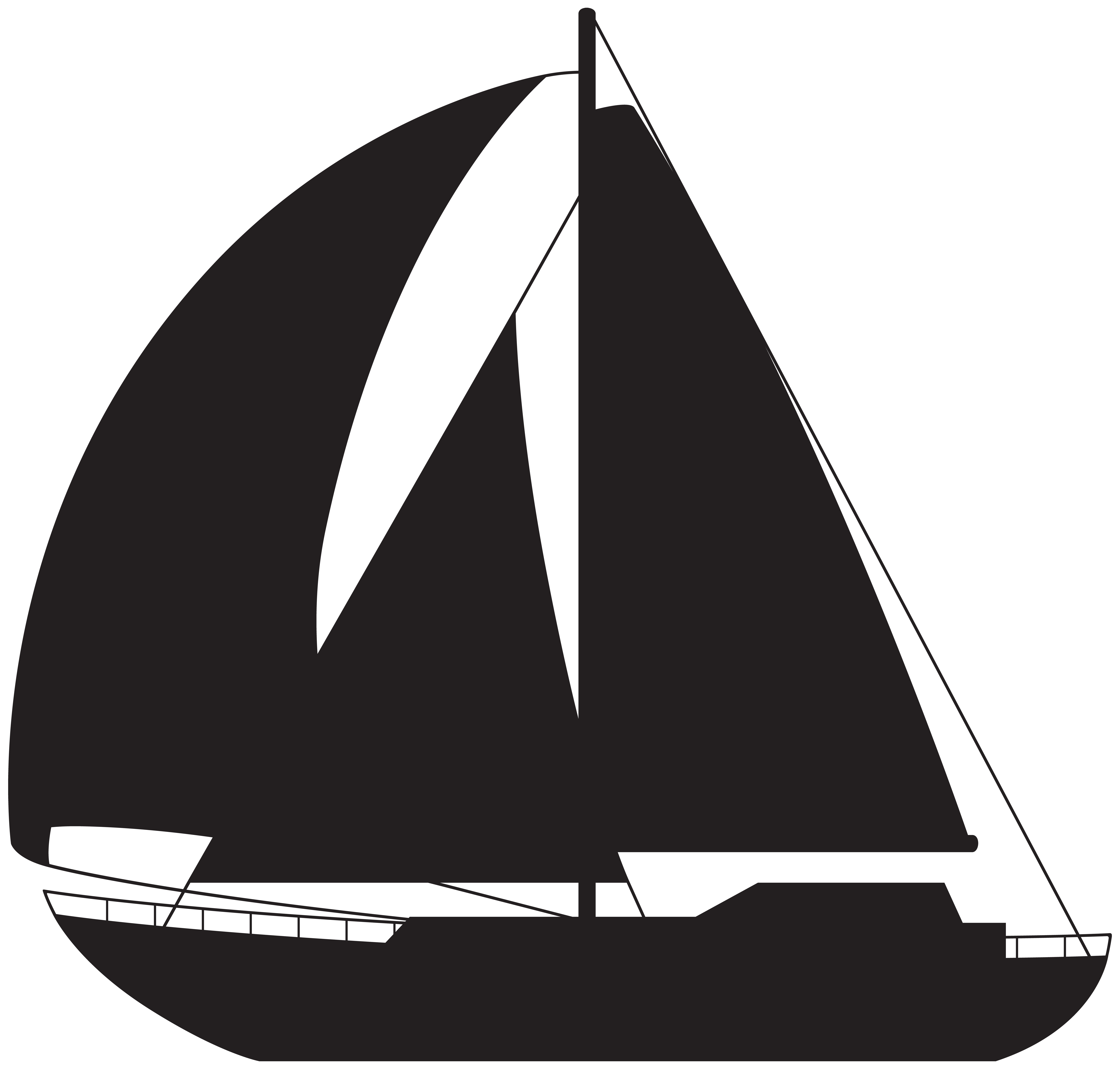 Silhouette clip art image. Sailboat png vector black and white