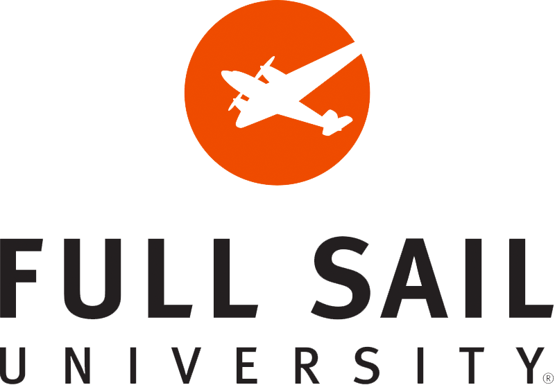 Sailing vector emblem design. Full sail university student