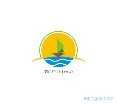 Sailing vector emblem design. Travels type logo download