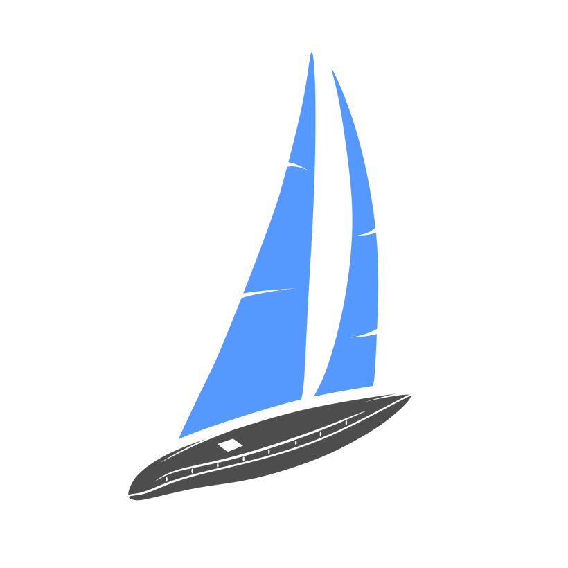 Sailing vector emblem design. Sail boat logo template
