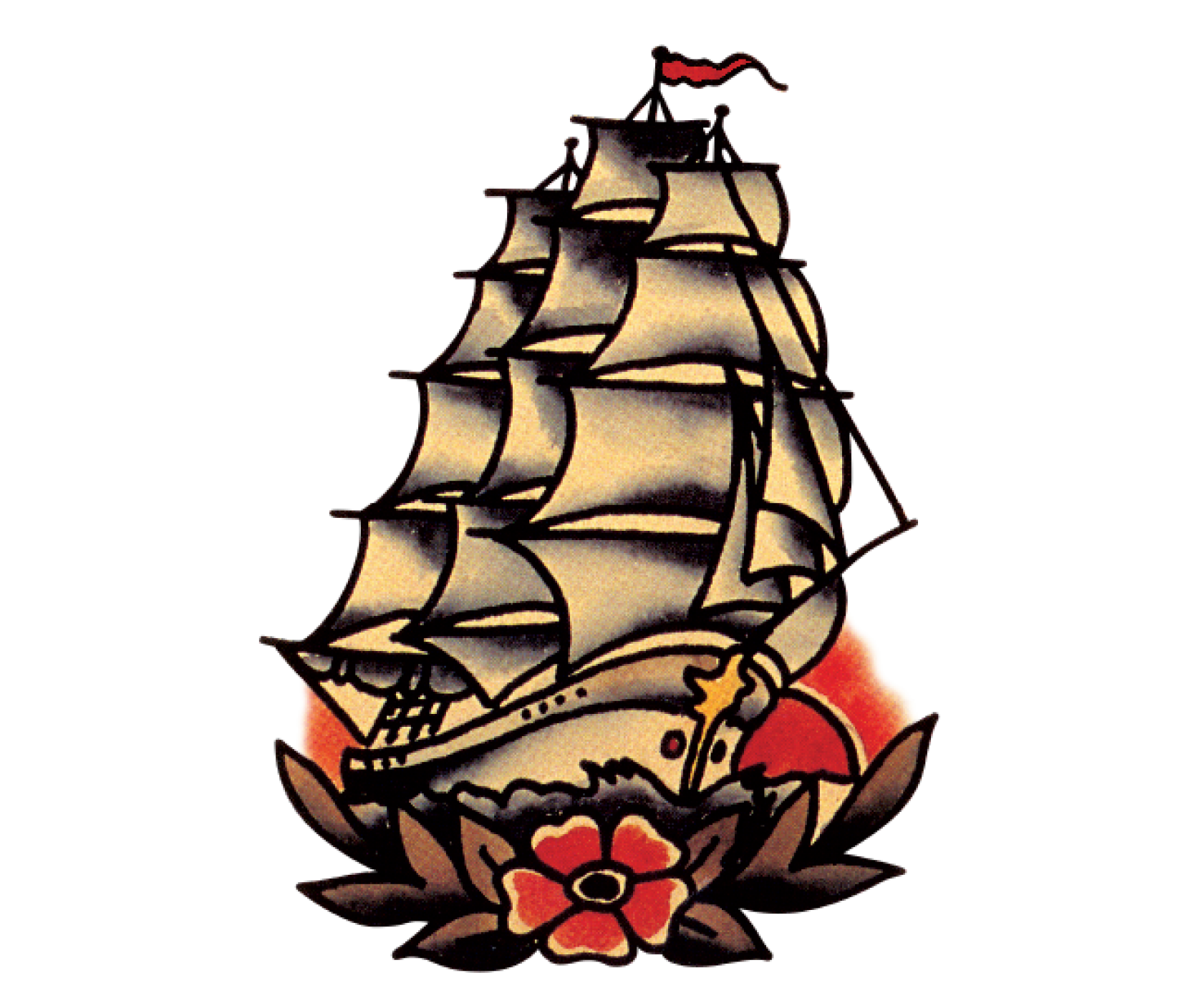 Sailing vector nautical tattoo. Spiced rum tasting notes