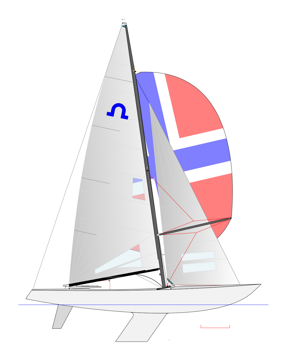 Sailing vector racing sailboat. Boat line drawing at