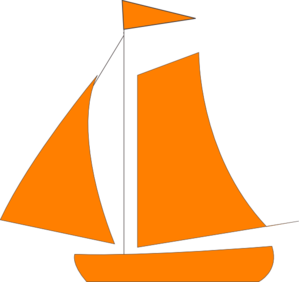 Sailing vector sailboat clipart. Orange sail boat clip