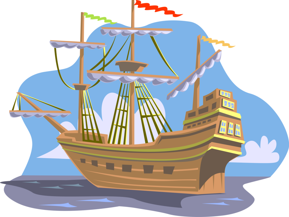Sailing vector tall ship. Christopher columbus of discovery