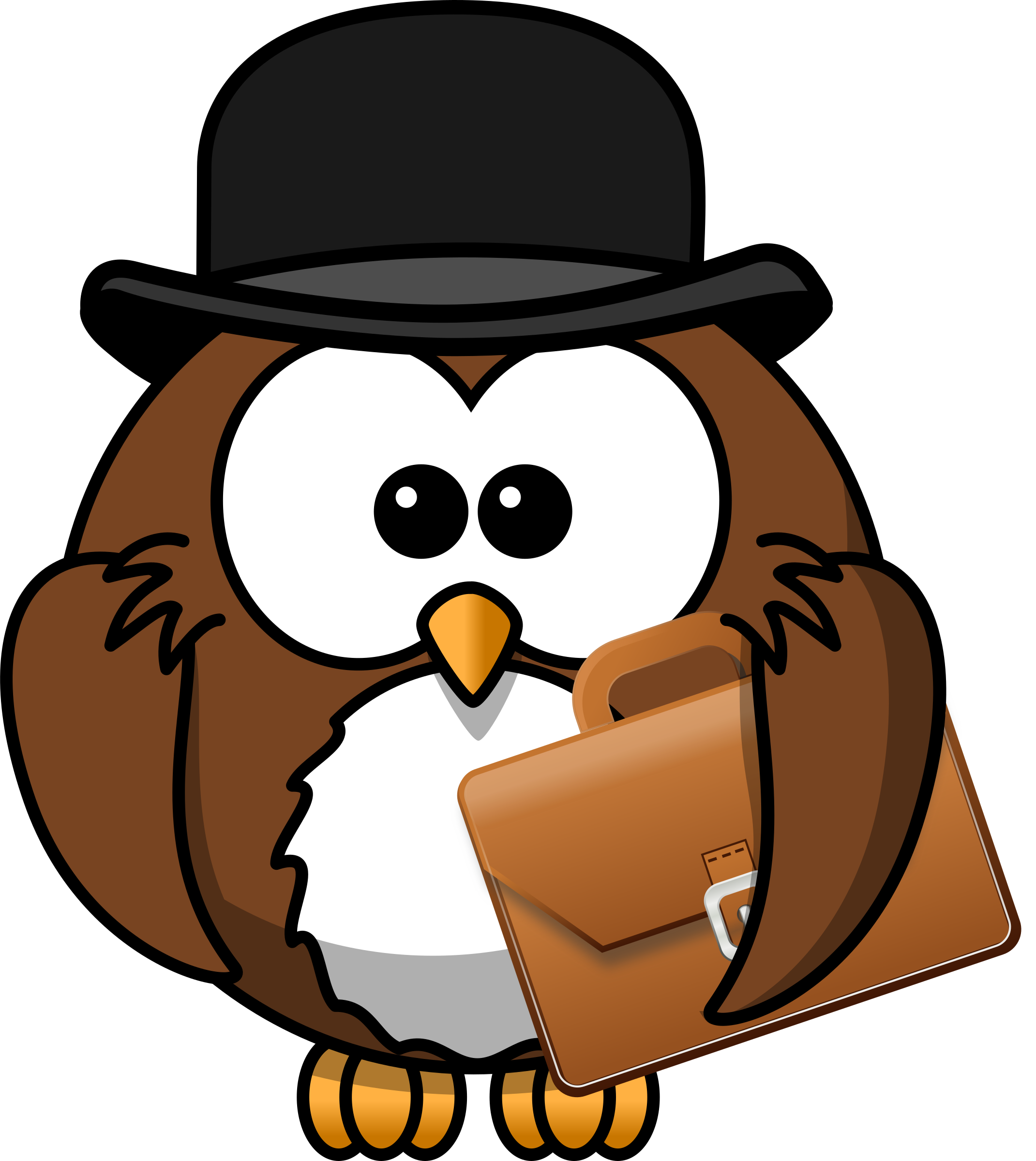 Sailor clipart owl. With hat and briefcase