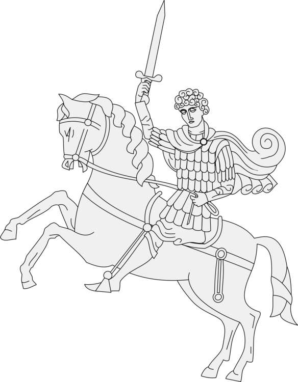 Drawing knight horse. Saint george and the