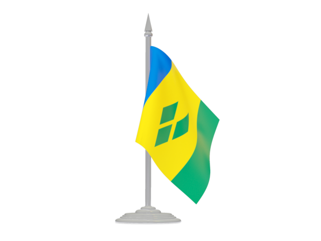 Saint Vincent and the Grenadines. Flag with flagpole illustration