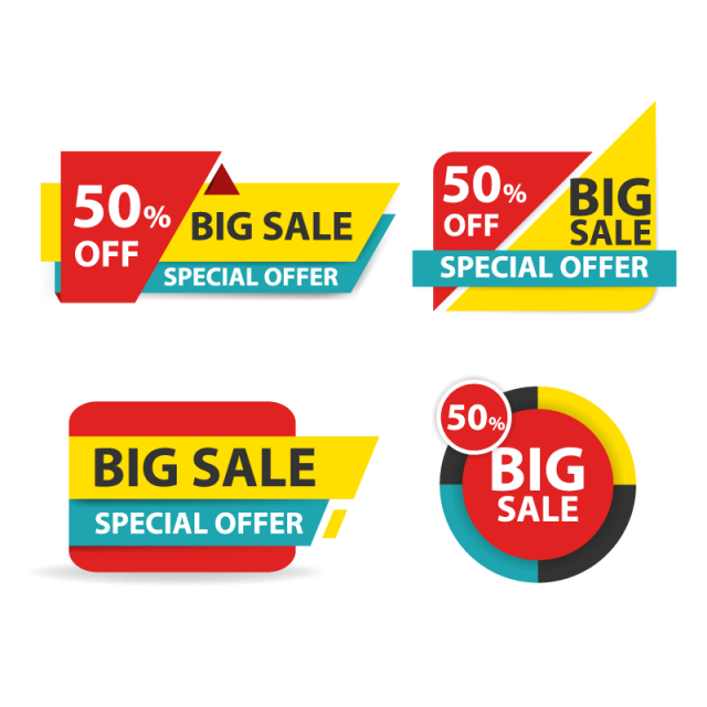 Sales vector big. Colorful shopping sale banner