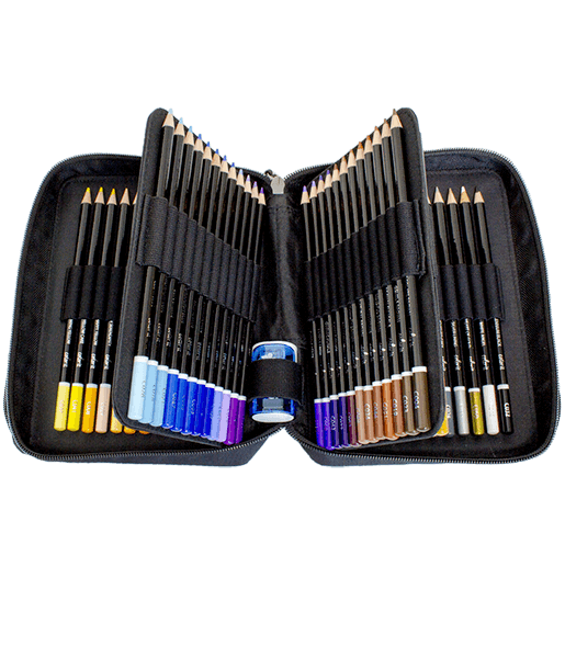 Sales drawing colored pencil. Premium set with case