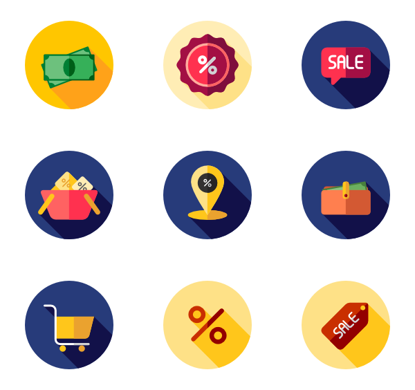 Sales vector. Icons free black friday