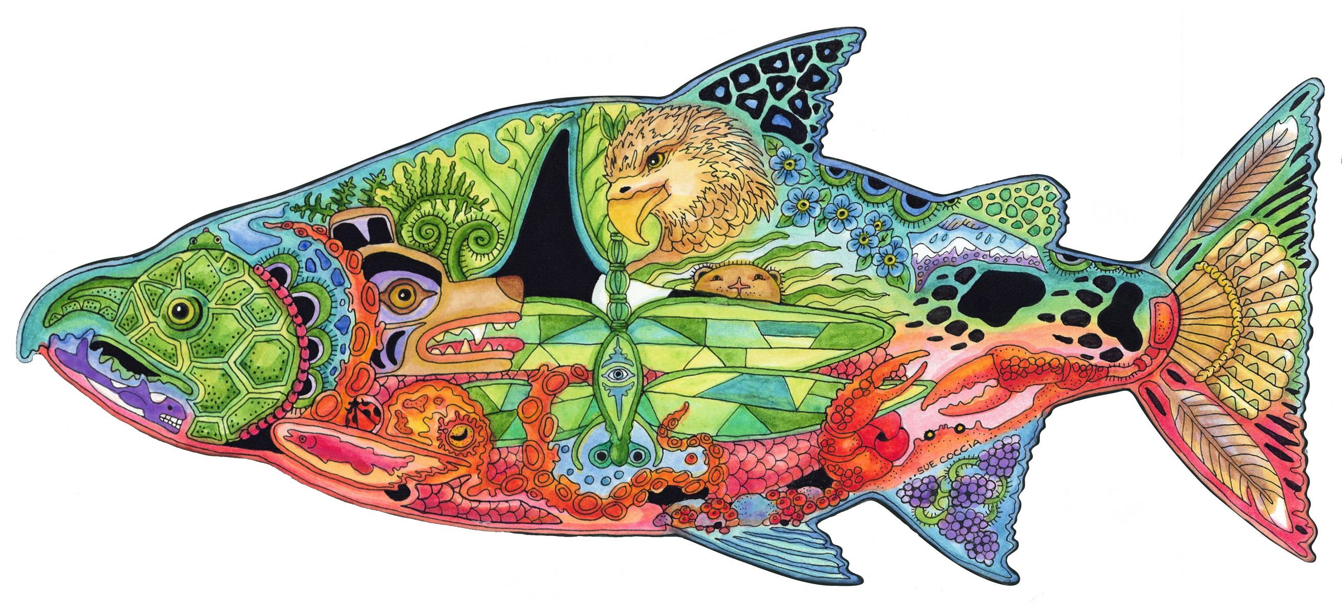 Salmon clipart chinook salmon. Wooden jigsaw puzzle liberty