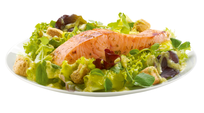 Salmon salad png. Fillet with pea mint