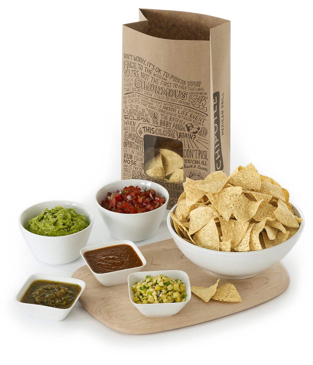 Chipotle catering spread. Salsa and chips png picture transparent stock