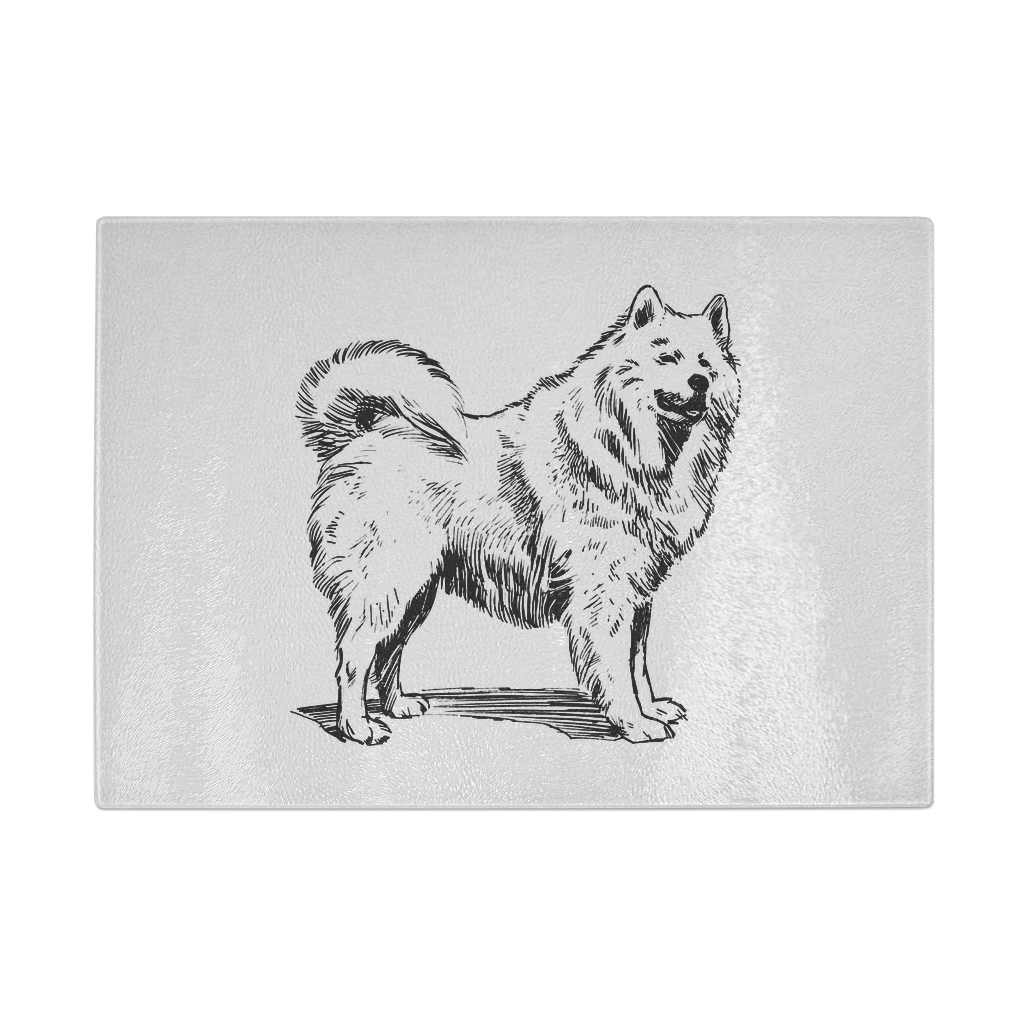 Samoyed drawing. Retro cutting board collection