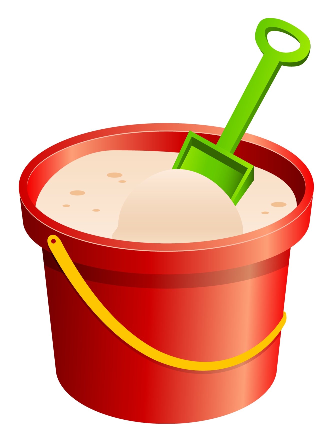 Sand bucket png. Red and green shovel