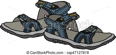 Slippers clipart sandles. Blue sport sandals hand clip black and white stock