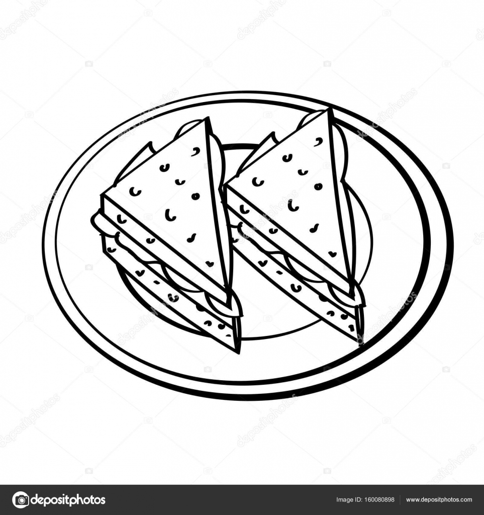 Sandwich clipart line drawing. Of simple vector stock
