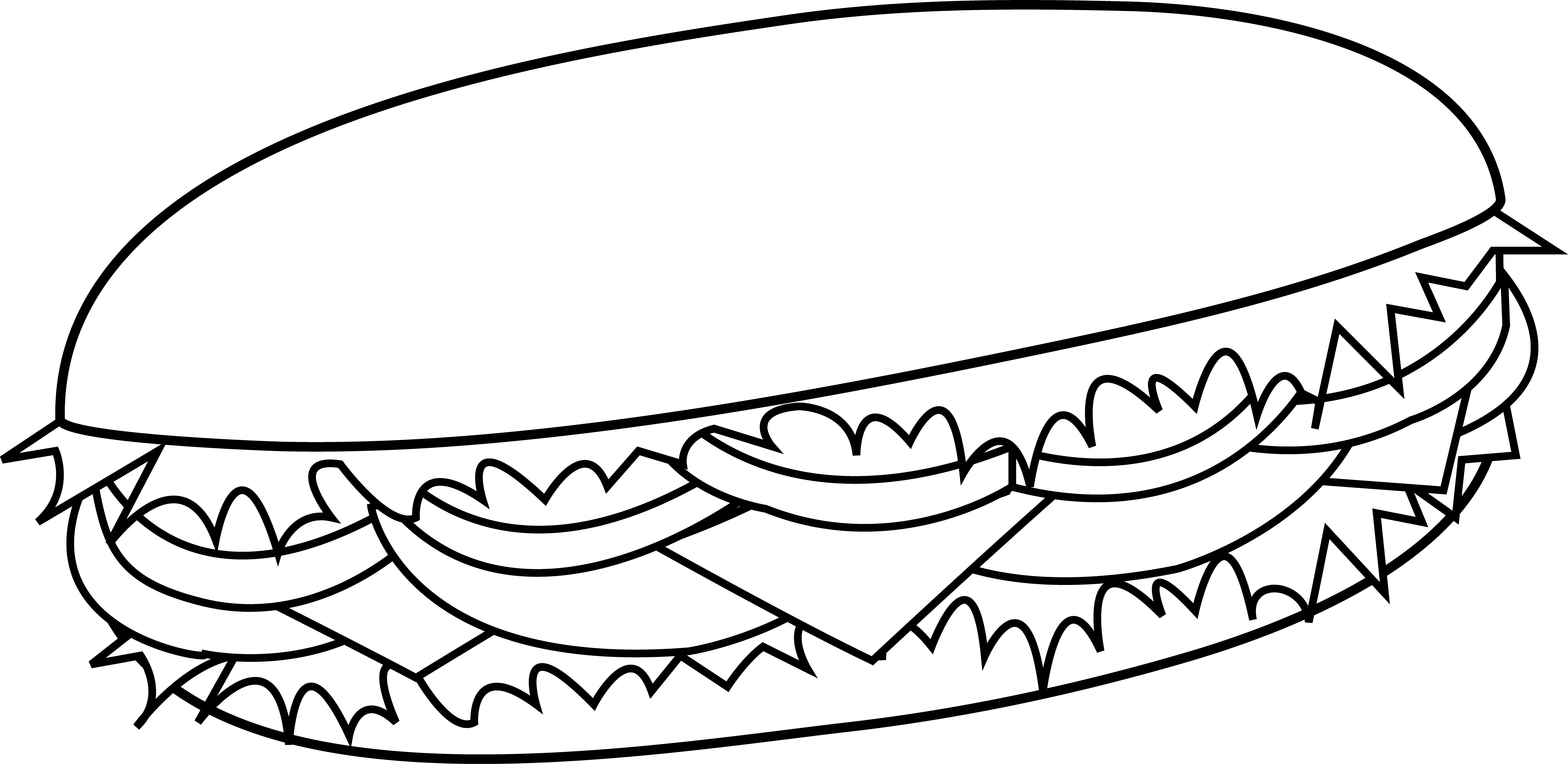 Vector sandwich black and white. Simple drawing clipart panda