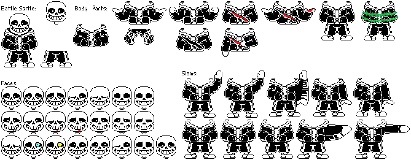 Sans face undertale png. Battle sprite sheet by