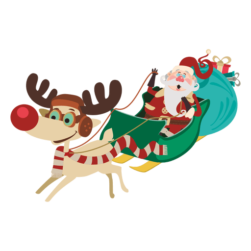 Santa claus sleigh png. On cartoon transparent svg
