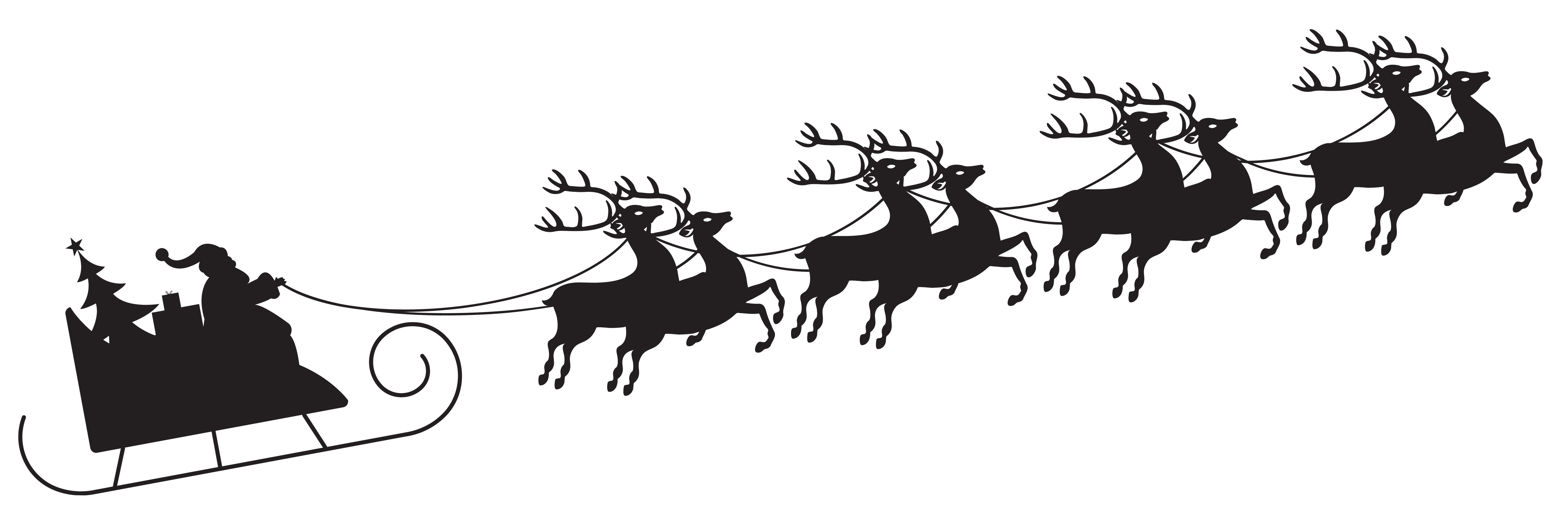 Santa and reindeer silhouette png. With sleigh transparent clip