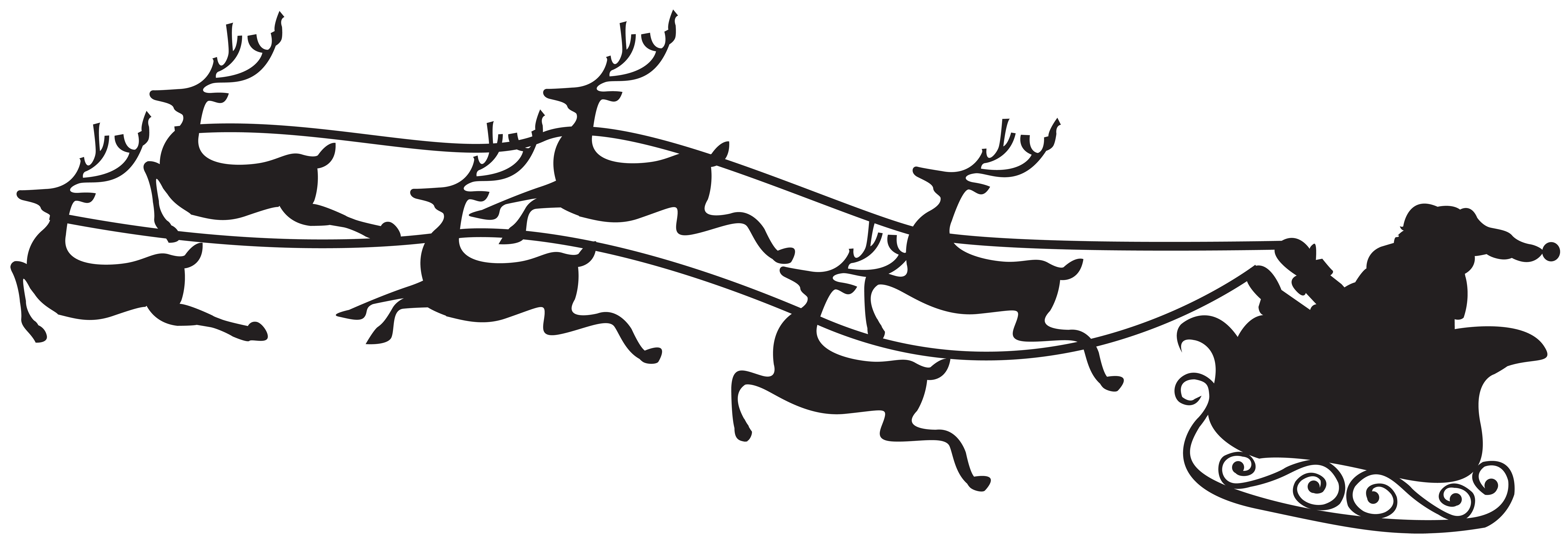 Santa and reindeer silhouette png. On sled clip art
