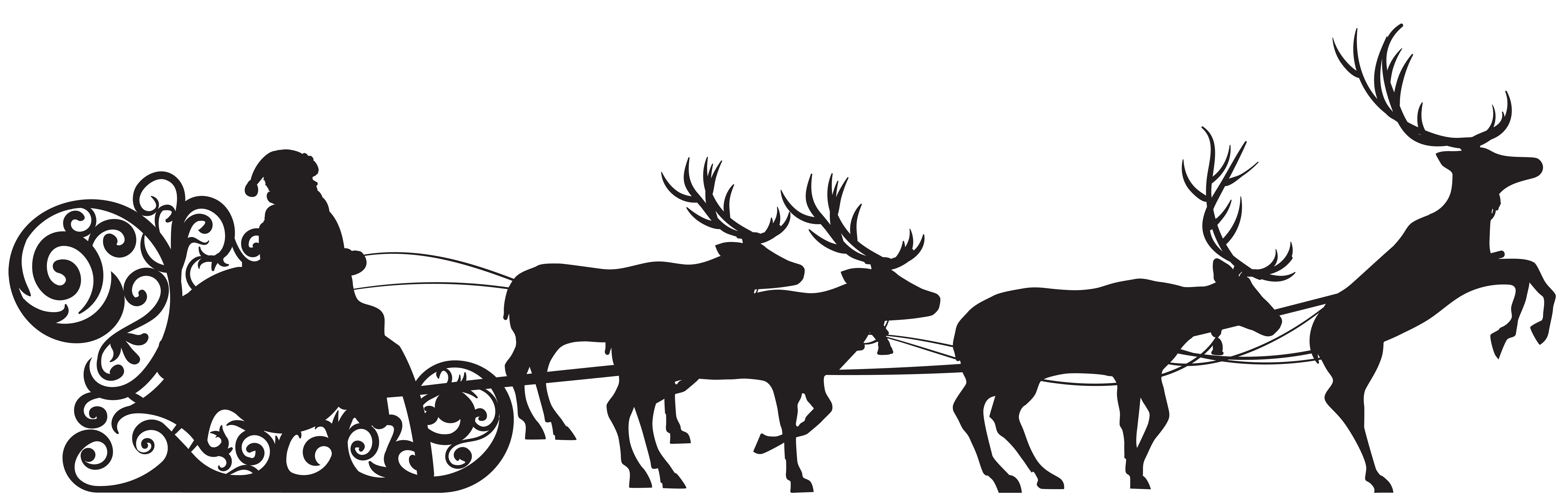 Santa and reindeer silhouette png. Claus sled clip art