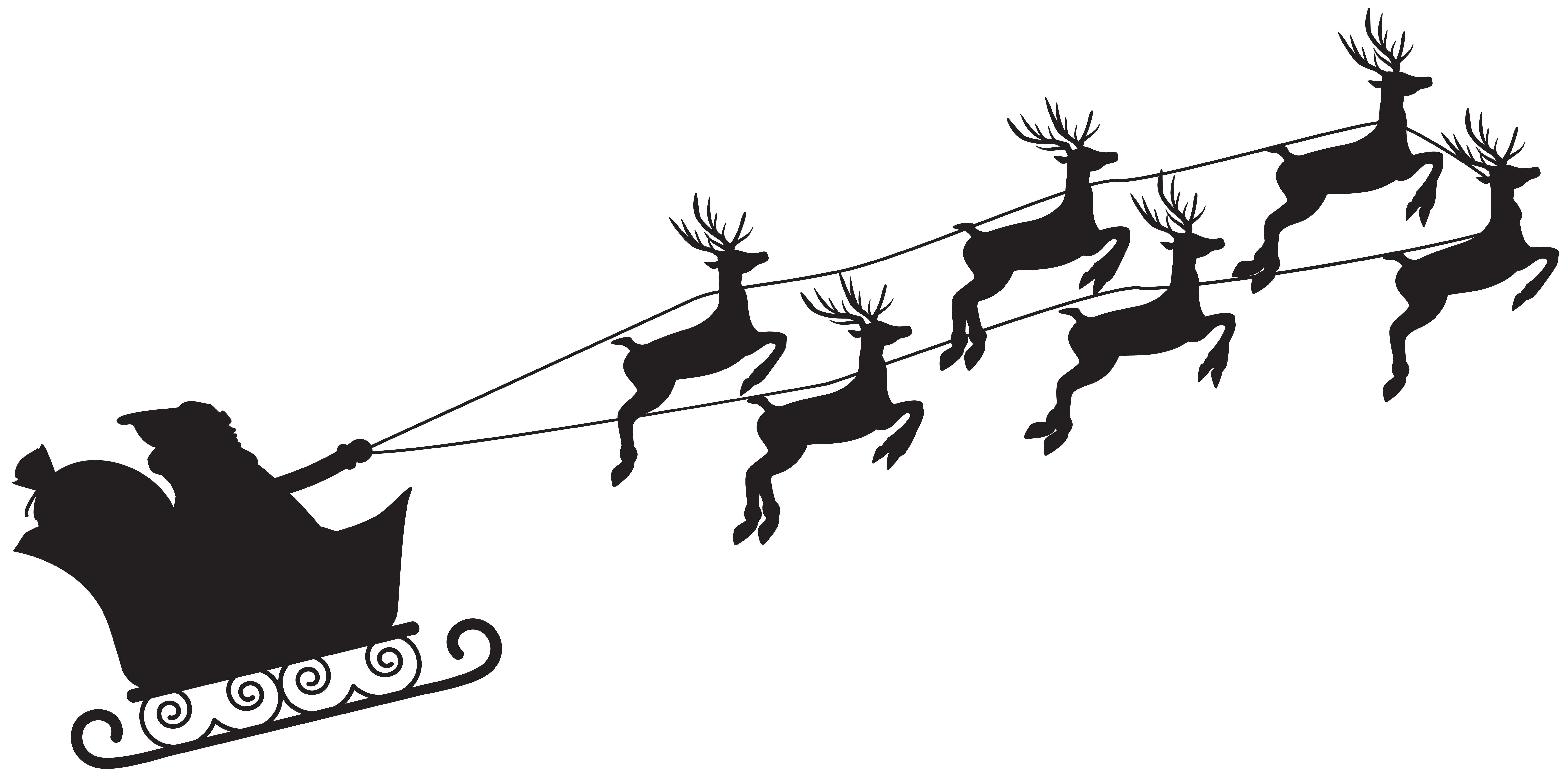 Santa and reindeer silhouette png. Claus clip art gallery