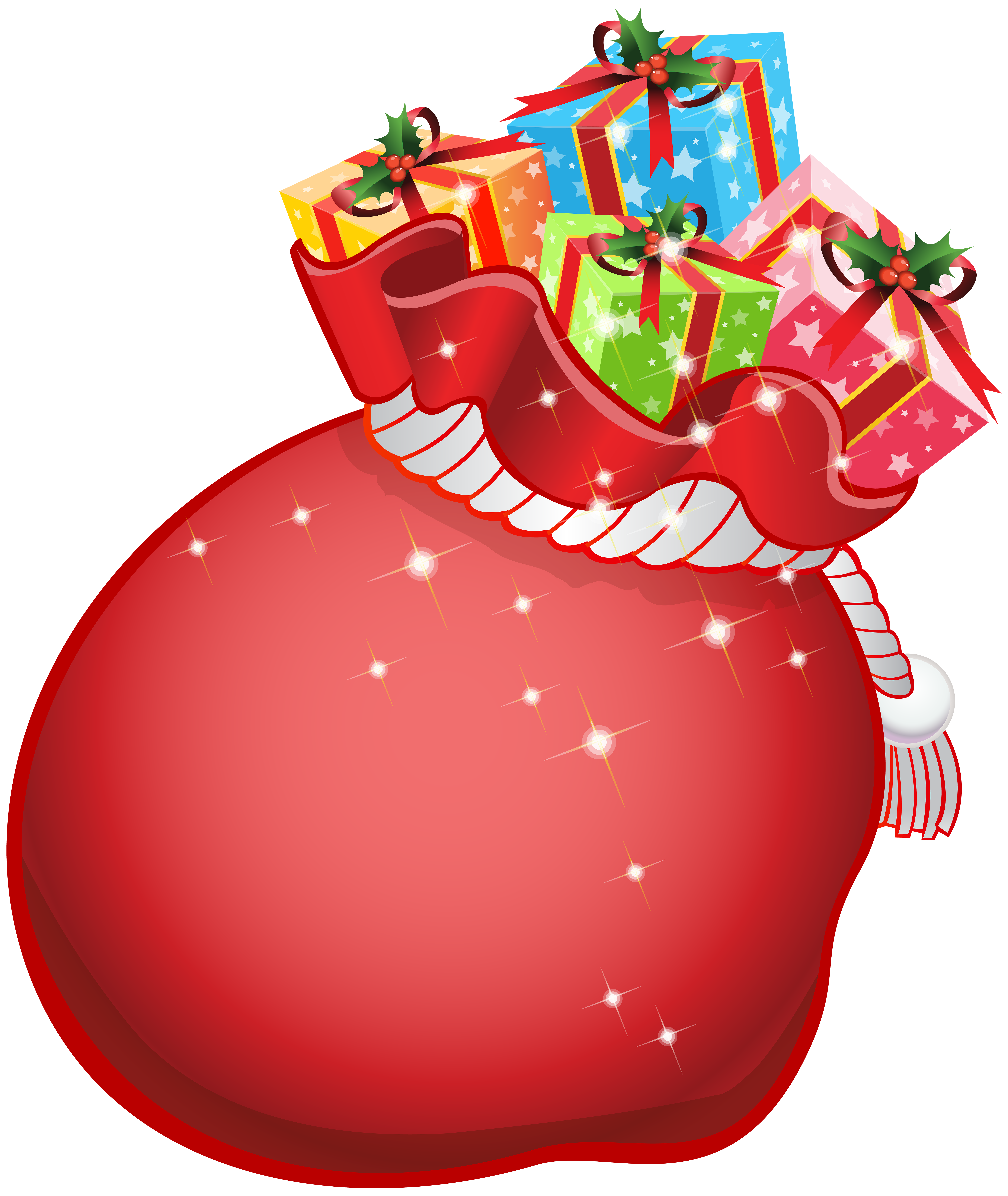 Santa bag png. With gifts transparent clip