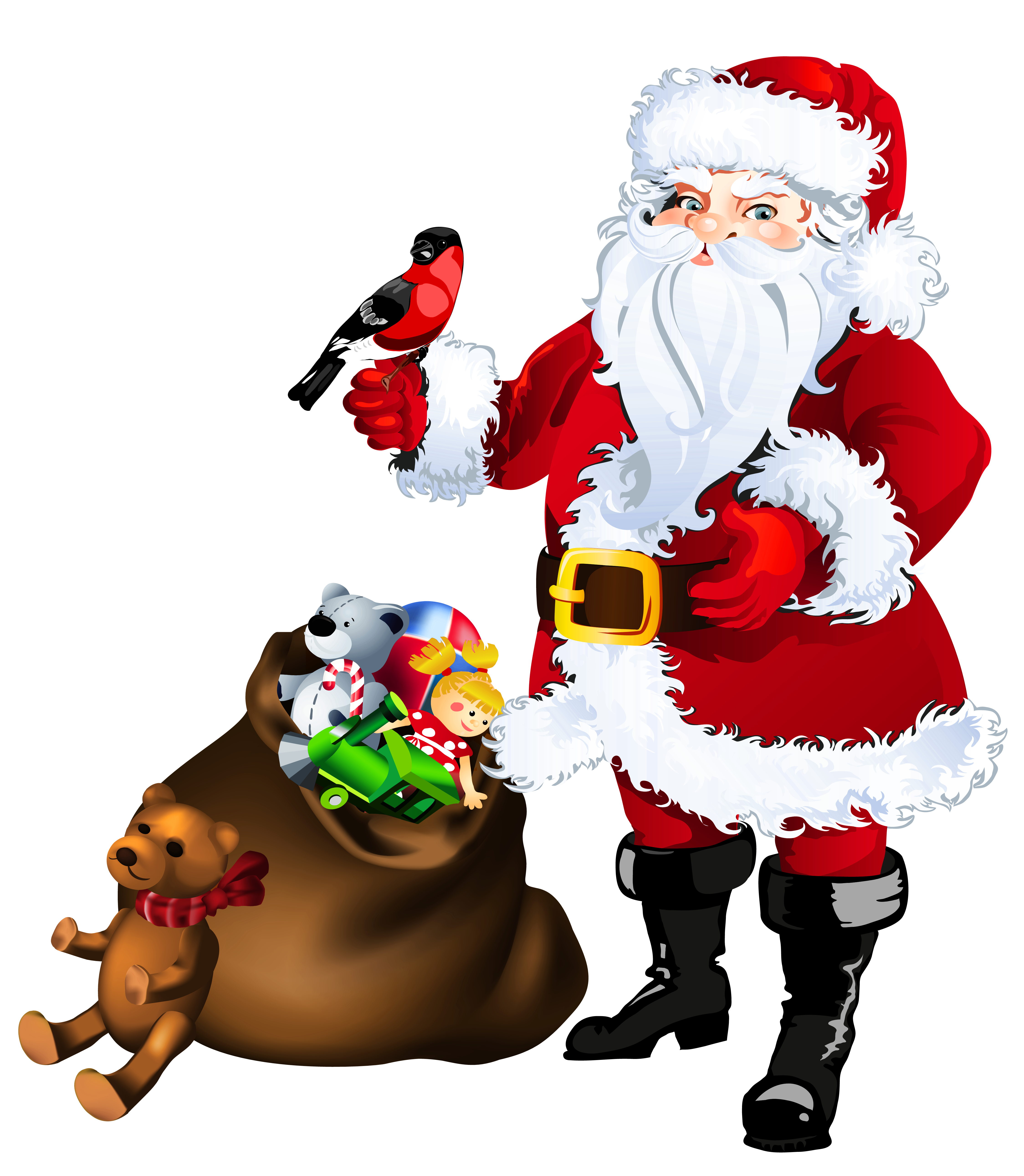 Santa claus seal png. Transparent with toys clipart