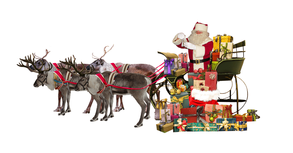 Santa claus sleigh png. Deer gifts transparent stickpng