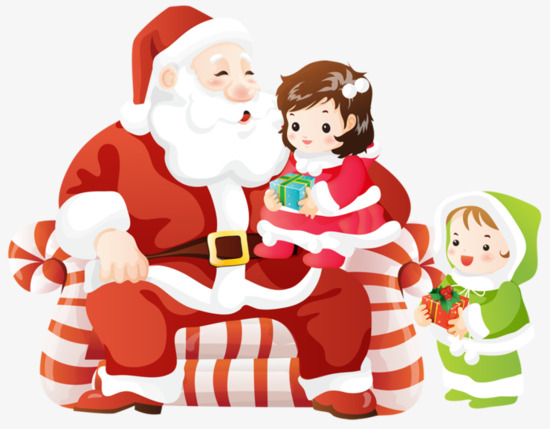 Santa clipart clothes. Claus and two children