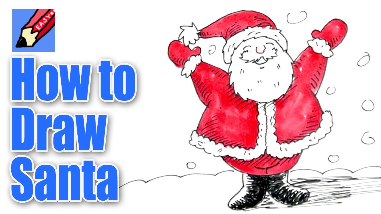 Santa clipart easy. How to draw real