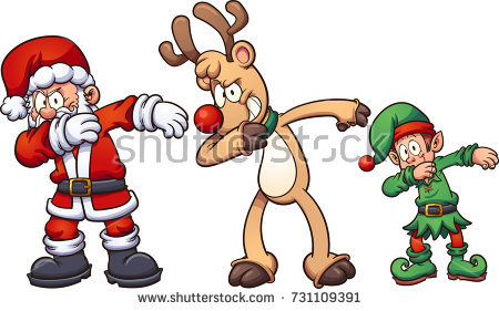 Dabbing christmas characters vector. Santa clipart easy picture royalty free stock