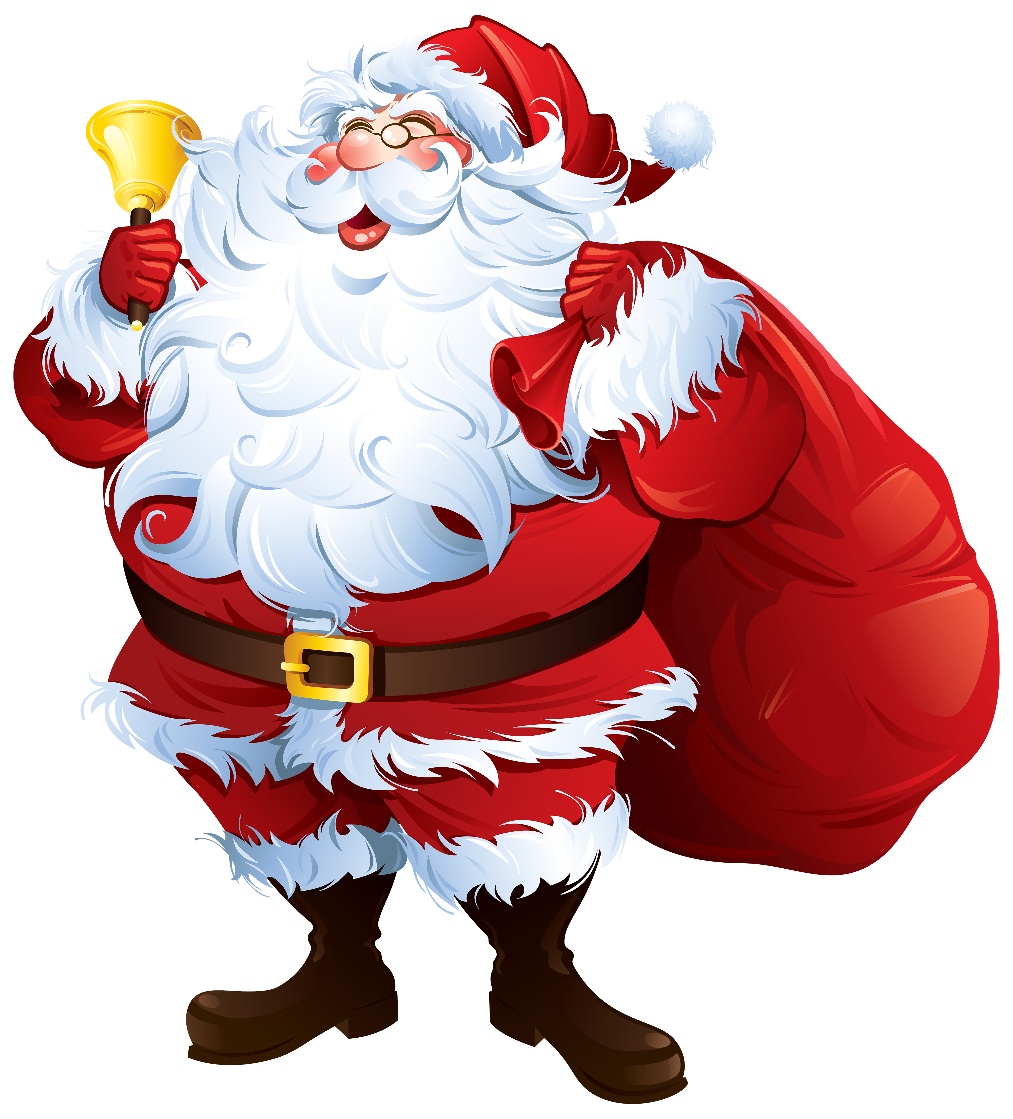 Santa clipart pizza. Claus with bell and