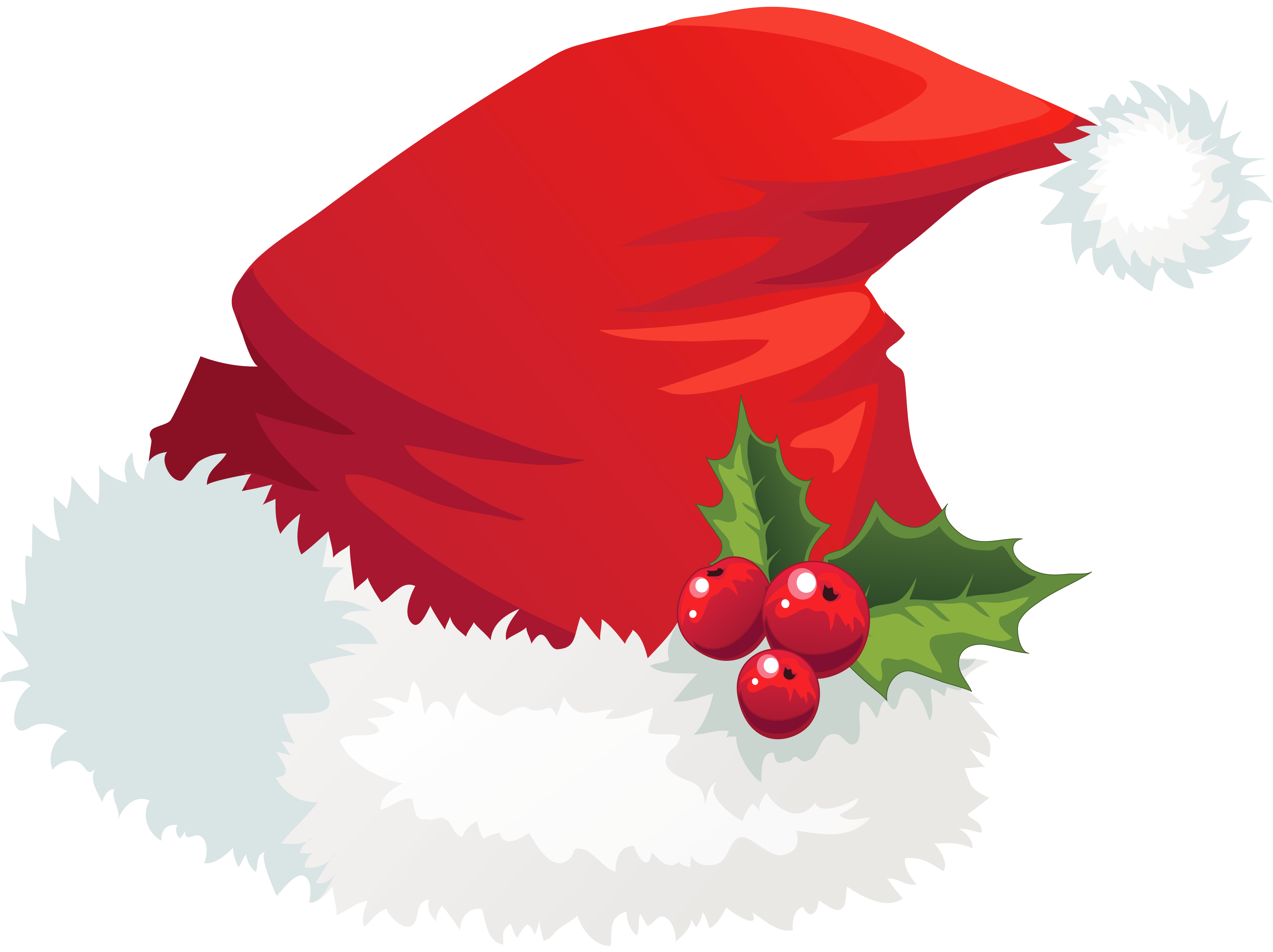 Cartoon christmas hat png. Transparent santa with mistletoe