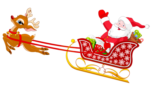 Santa reindeer png. And with sled clipart