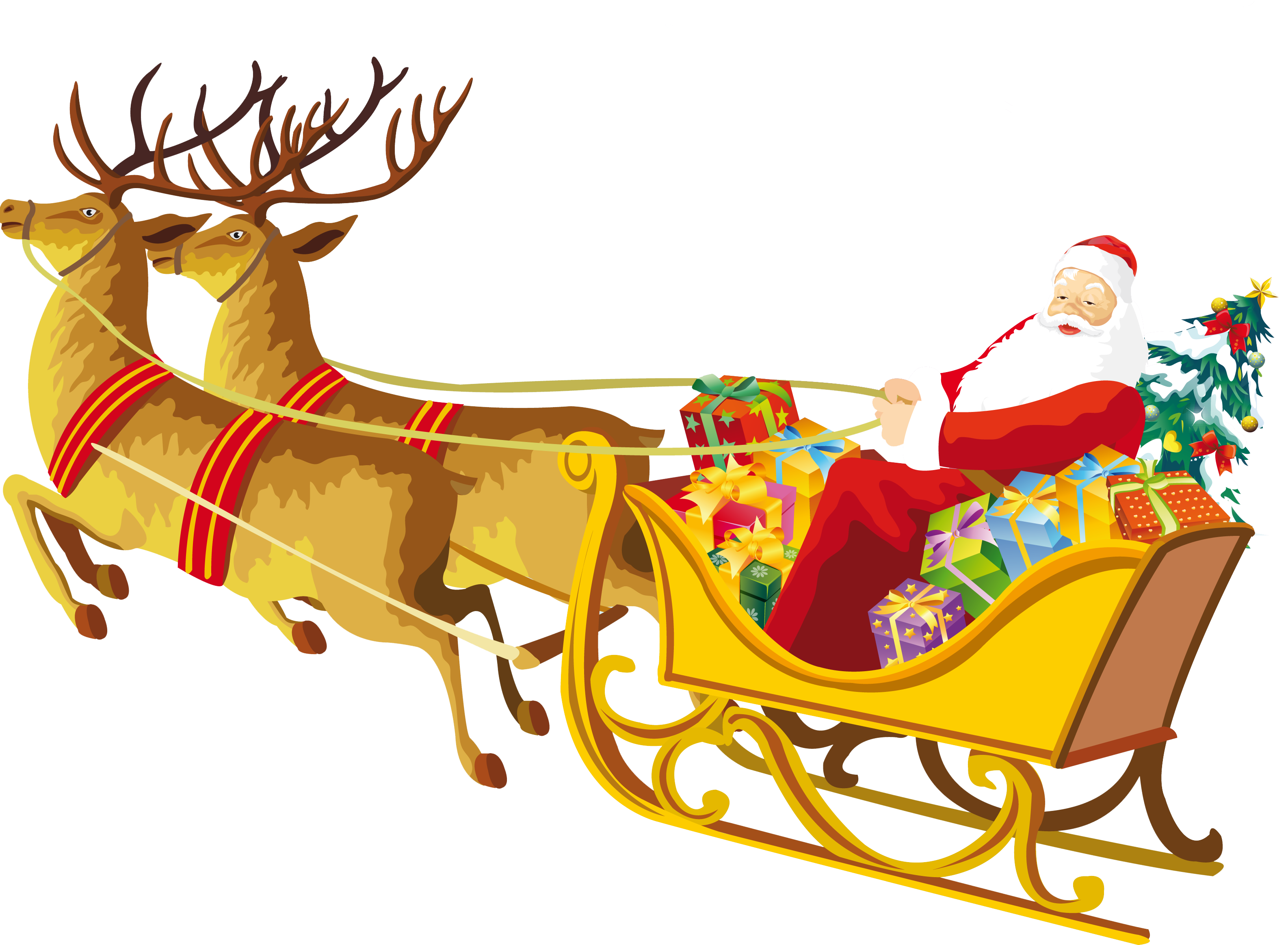 sledding drawing santa claus sleigh