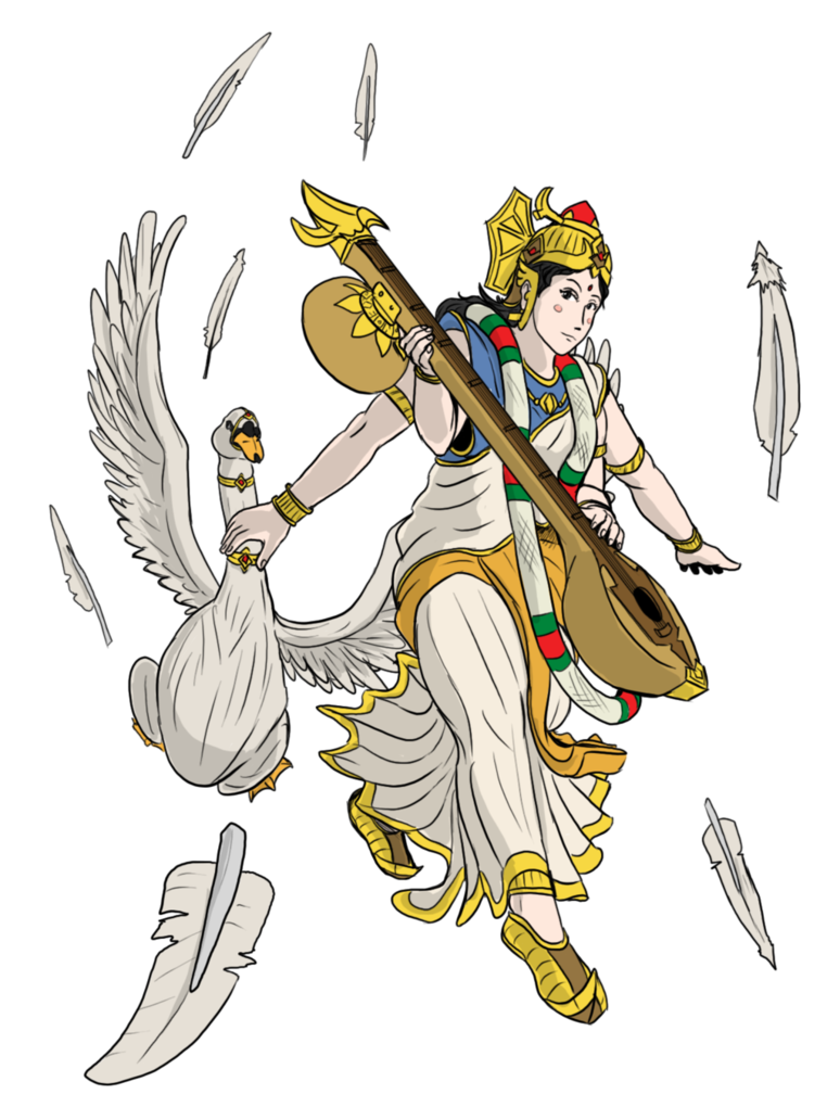 Saraswati drawing clipart. Maa the sacred swan