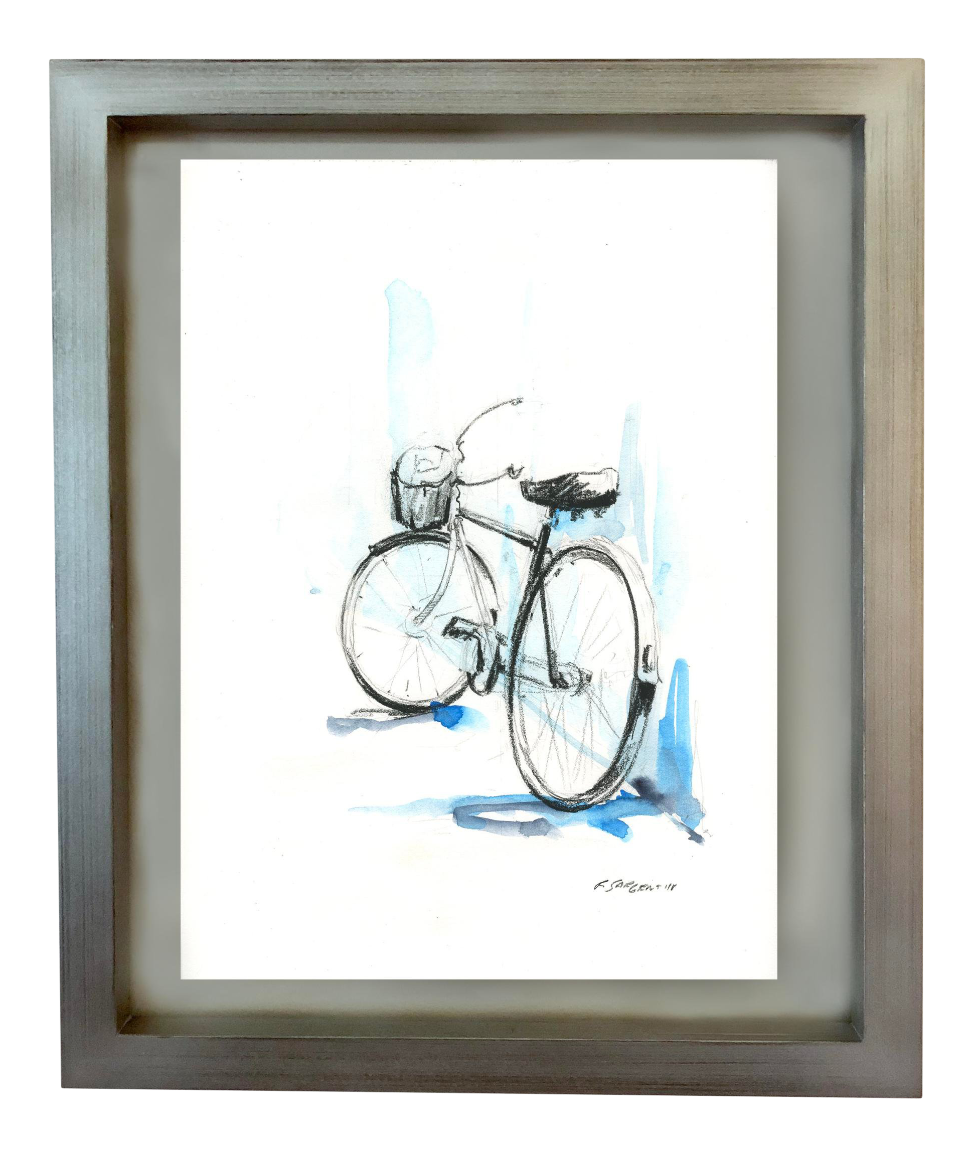 Rick bike mixed media. Sargent drawing pen banner black and white