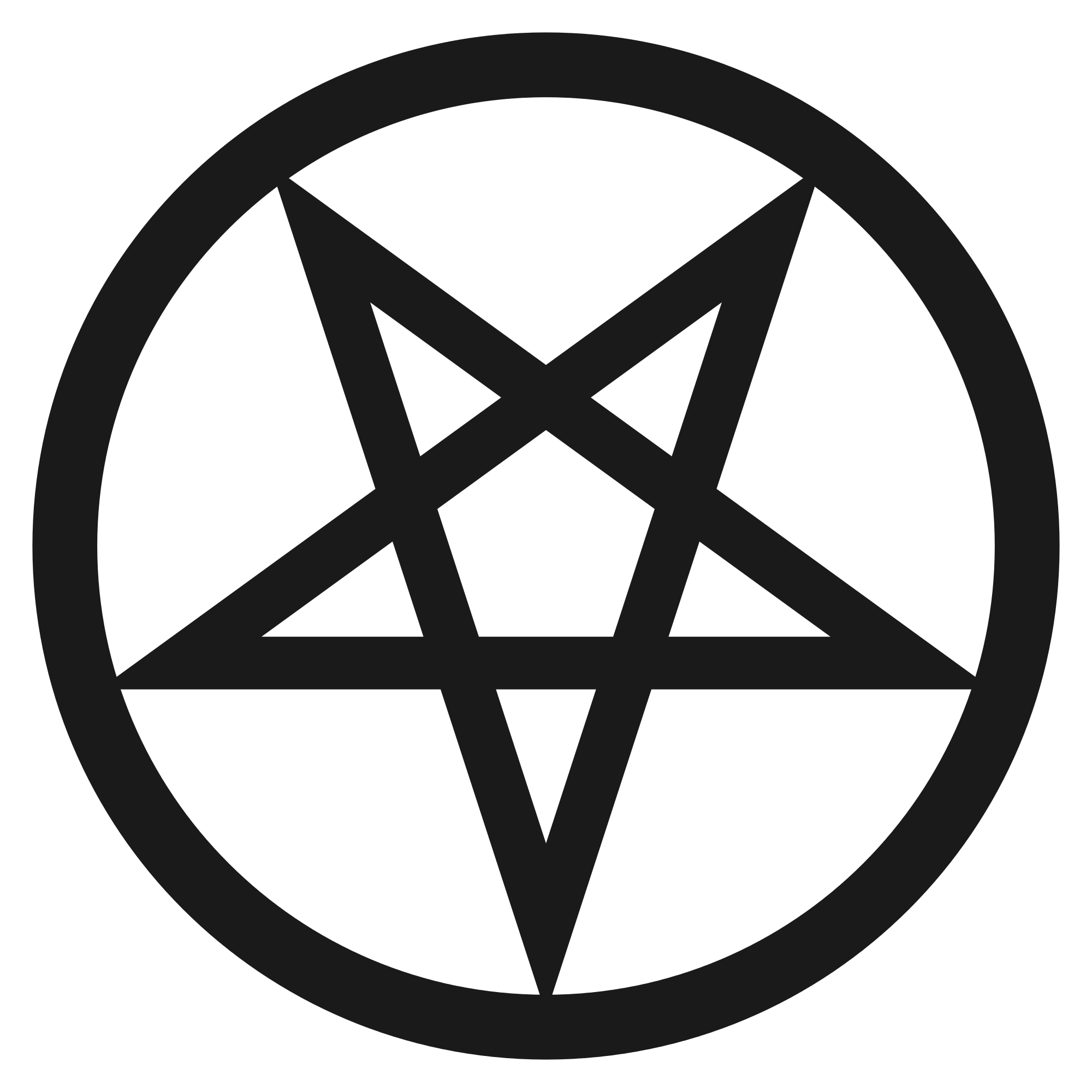 Pentacle transparent black and white
